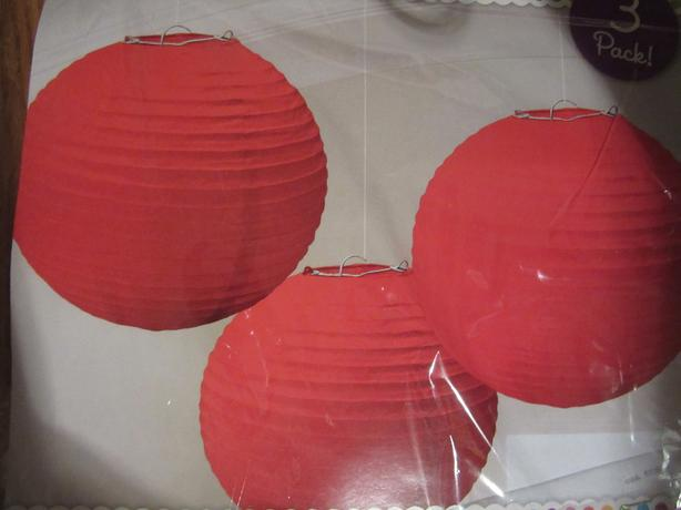 PKG. OF 3 RED HANGING PAPER LANTERNS