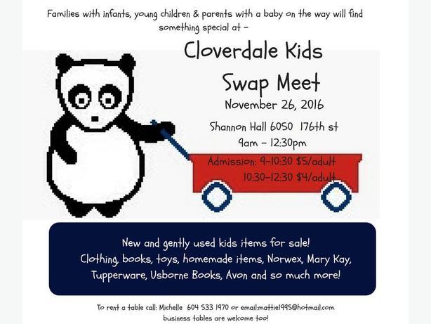 Cloverdale Fairgrounds Kids Swap Meet November  26
