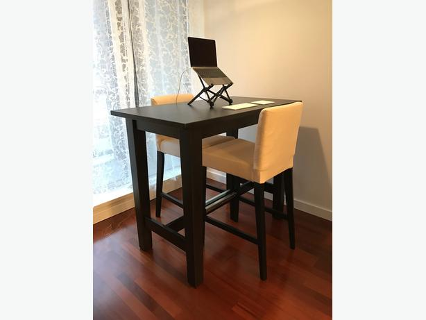 BAR/DINING TABLE and TWO BAR STOOL CHAIRS