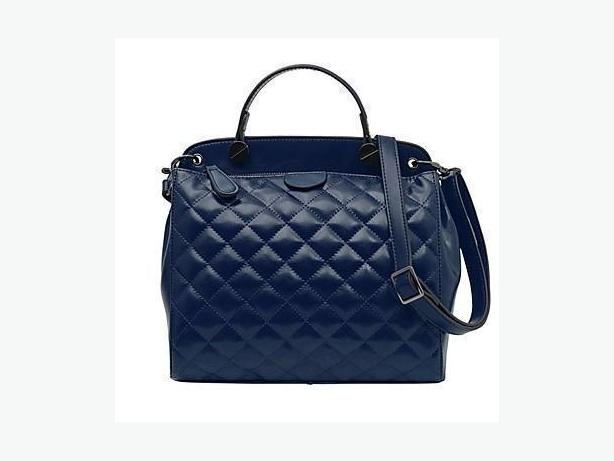 Quilted Leather Tote Bag Handbag - Royal Blue