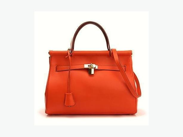 Leather Tote Bag Handbag - Orange