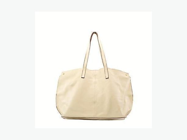 Cream Leather Tote Shopper Bag Handbag
