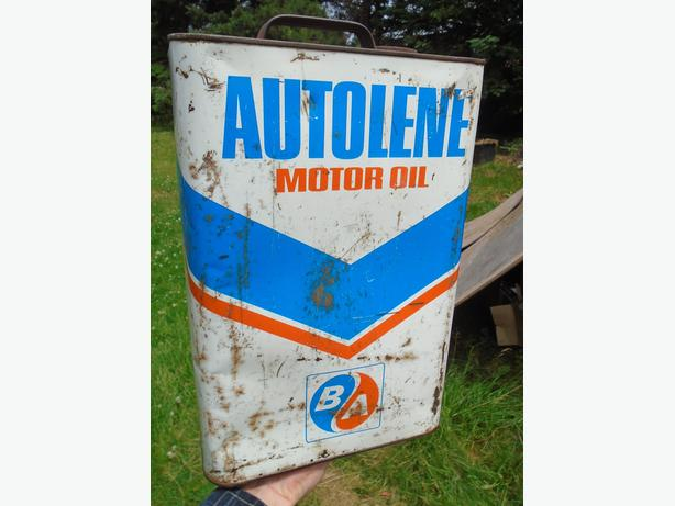 RARE! VINTAGE 1967-68's B/A AUTOLENE MOTOR OIL CAN - GULF OIL