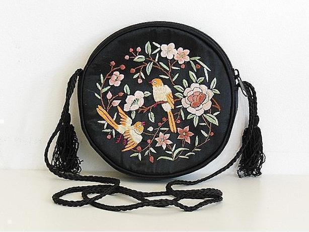 Floral Embroidery Evening Clutch Purse Handbag