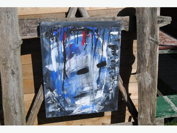 abstract canvas painting face figure painting mask original art