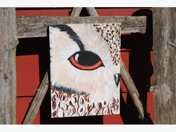 owl on canvas acrylic painting