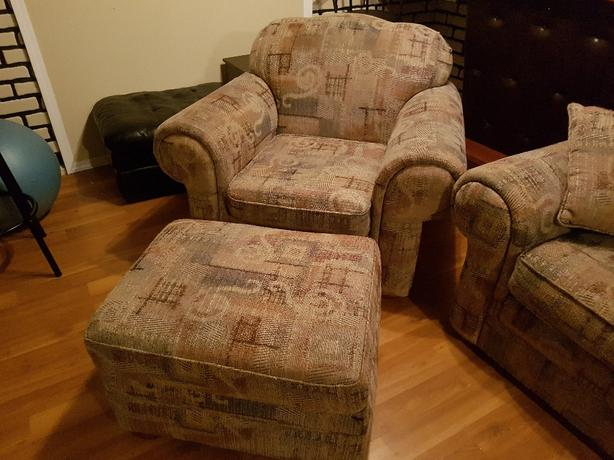 chair ottoman and sofa