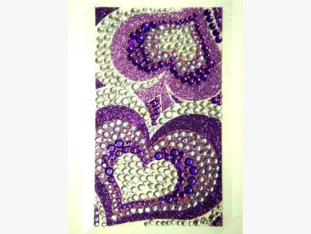 Bling Jewelry Rhinestone Sticker - Purple Hearts