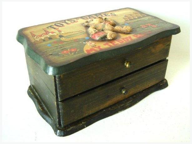 Teddy Bear Wooden Keepsake Jewelry Box / Drawer