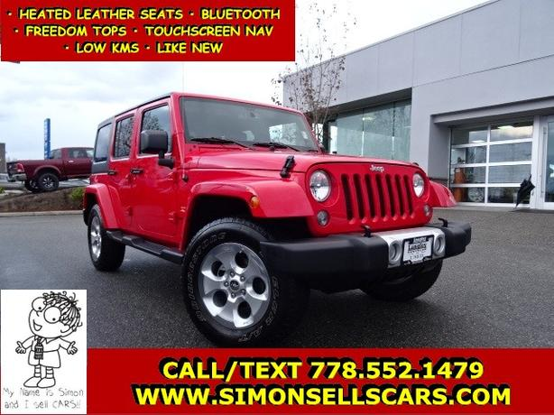 2014 JEEP WRANGLER SAHARA - HEATED LEATHER - TOUCHSCREEN NAV & MORE!