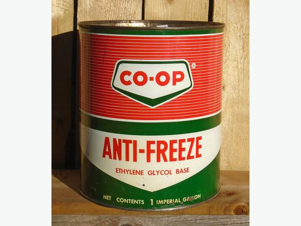 VINTAGE 1967's CO-OP ANTI-FREEZE IMPERIAL GALLON CAN