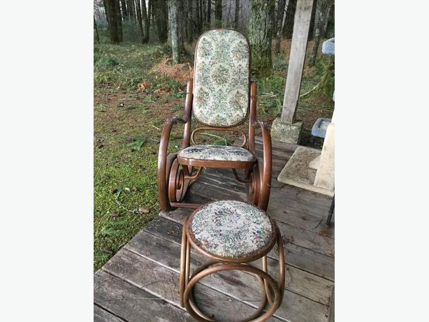 Bentwood rocker and matching stool