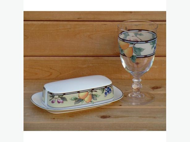 "Mikasa ""Garden Harvest"" covered butter dish with matching 14 oz goblet"