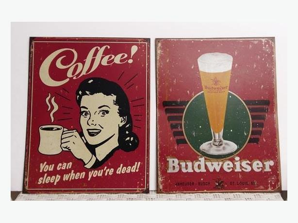 2 retro Tin Signs  newer they have a vintage, distressed appearance.