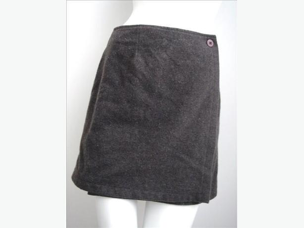 Taupe Wrap-Around Mini Skirt by le chateau