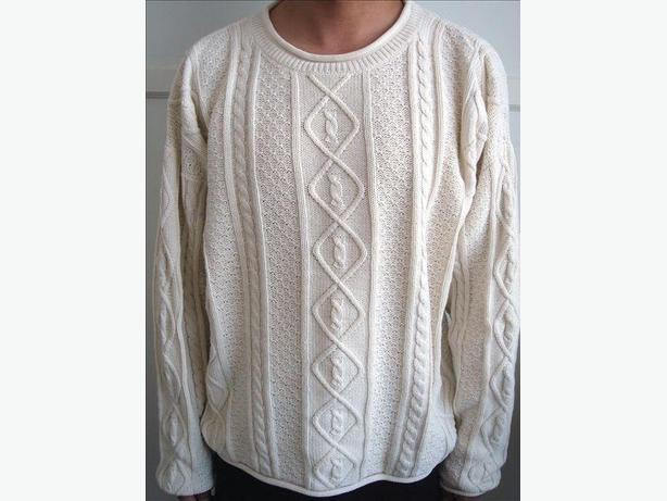Winter White Round Neck Cable Sweater - Size L