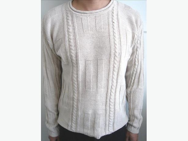 Almond Round Neck Cable Sweater - Size L