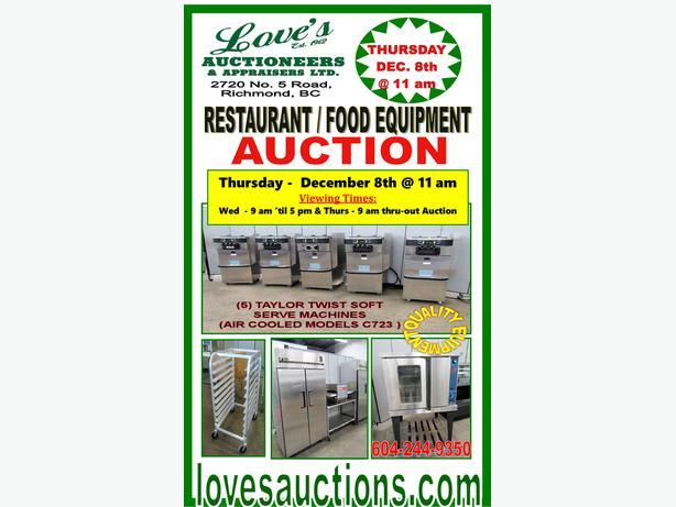 RESTAURANT FOOD EQUIPMENT AUCTION - THURSDAY - DEC. 8th @ 11 am