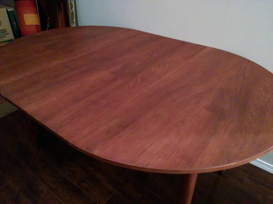 Mid century modern teak dining table with leaf victoria for Dining room tables victoria bc