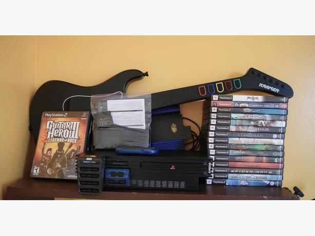 PS2 Console, 1 controller & Games Sold as a Lot