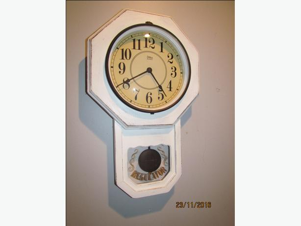 22 inch Long Distressed White Wall Clock