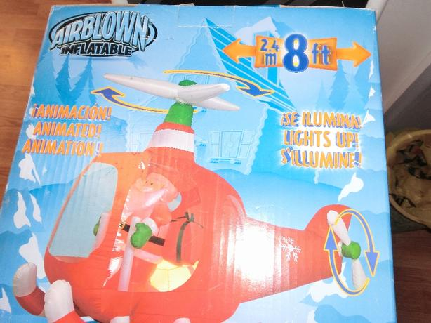 Airblown santa helicopter yard decoration central regina for Motor for inflatable decoration