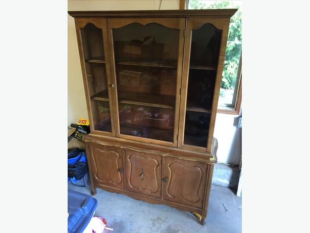 solid wood cabinet with glass door