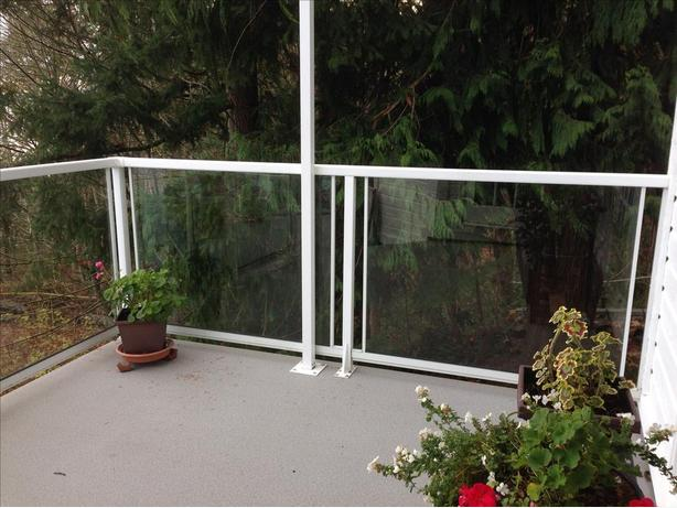 Deck railings, glass and aluminum