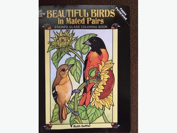 bird stain glass colouring book