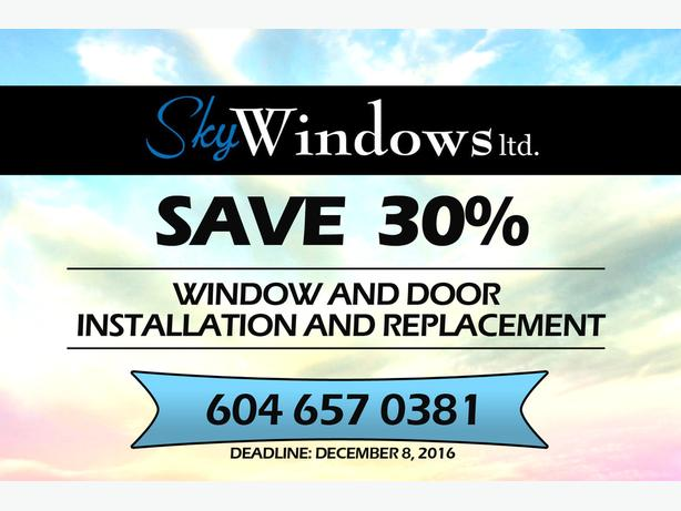 SAVE 30% on Window and Door Installation and Replacement