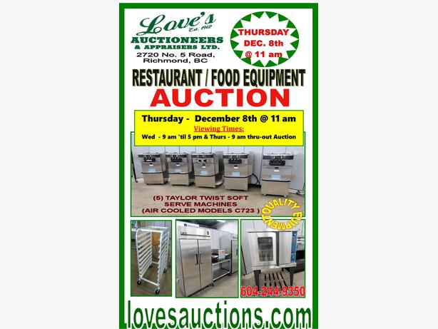 RESTAURANT FOOD EQUIPMENT AUCTION - THURS. - DEC 8th @ 11 am