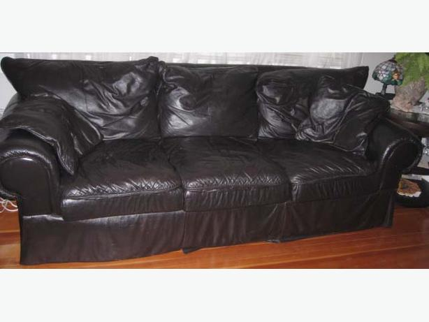 Large black real leather couch seats 90 inches long the for 90 inch couch