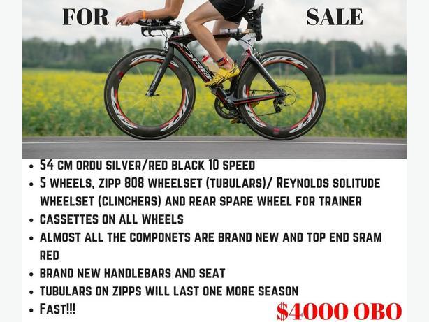 TT Bike with an extra set of race wheels.