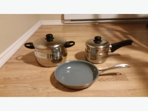 Pots, double boiler and ceramic frying pan