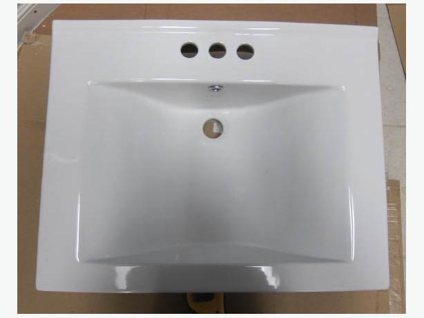 SOLD - Square white porcelain bathroom sink