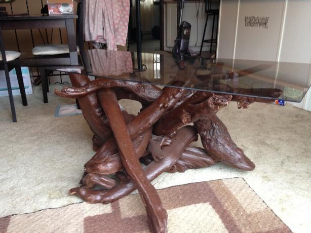 rustic handmade log coffee table