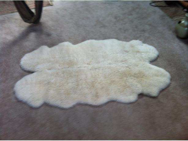 Massive authentic white sheepskin rug