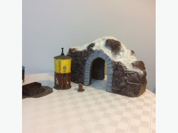 Hand painted train holding shed, coal bin, outhouse,  water tower and tunnel