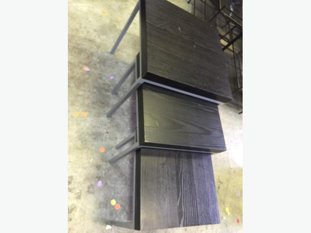 3 black nesting tables