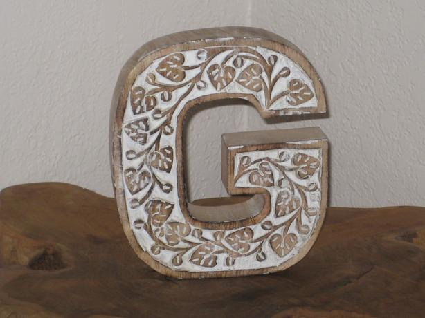 Letter G, solid wood.