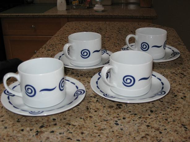 navy cups and saucers.