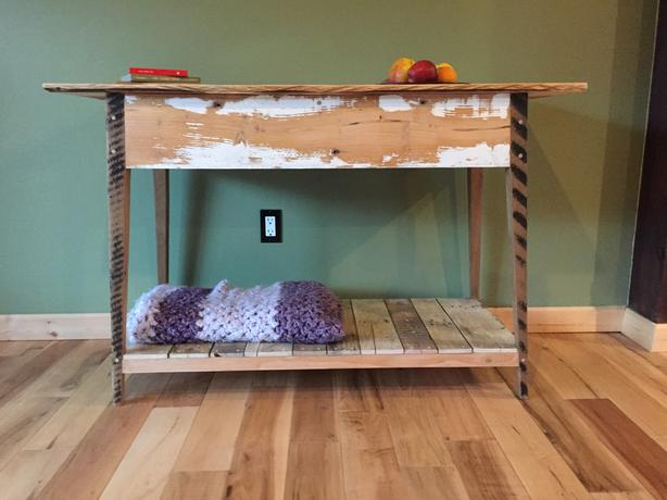 RECLAIMED SOLID WOOD CONSOLE TABLE W/ SHELF