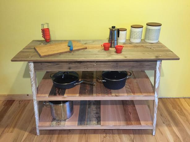 RECLAIMED SOLID WOOD SERVER TABLE