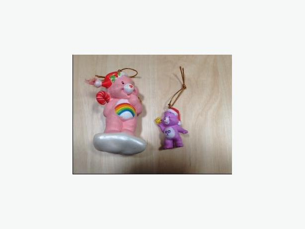 2 CHRISTMAS ORNAMENTS - CARE BEARS - LIKE NEW