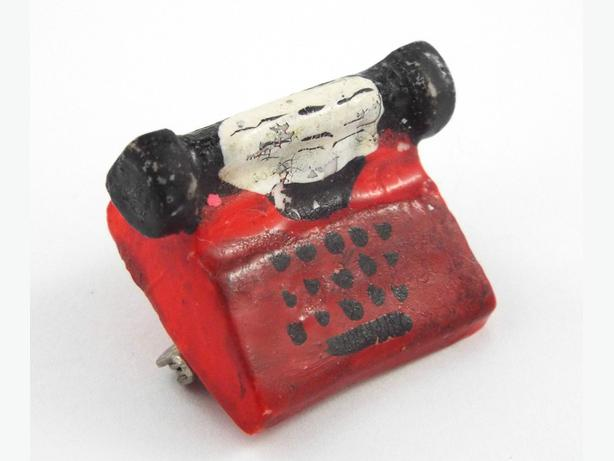 Red jewelry brooch |  1930s vintage brooch |  Typewriter brooch pin