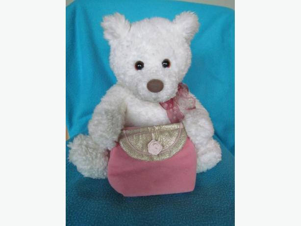 Soft White Gund Bear with pink purse 12""
