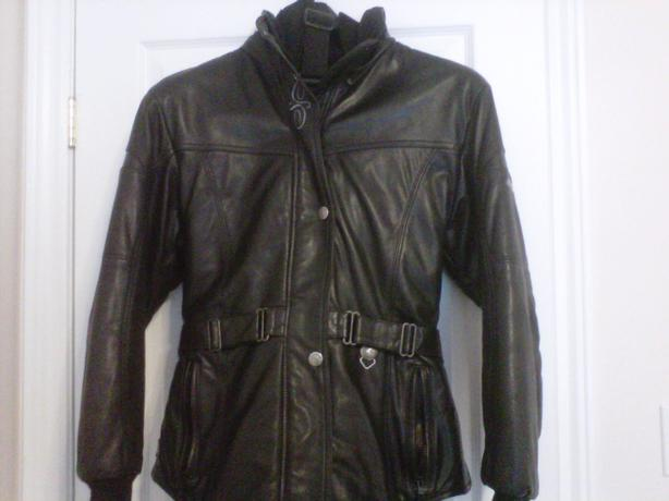 Women's Black Leather Snowmachine Suit