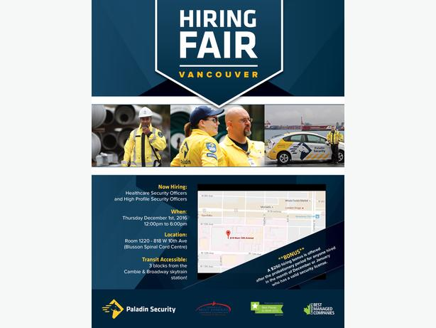 PALADIN SECURITY CAREER FAIR at the VGH CAMPUS