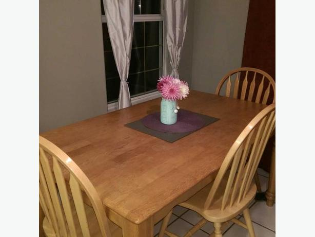 Solid Wood Dining Table with Bench & 4 Chairs