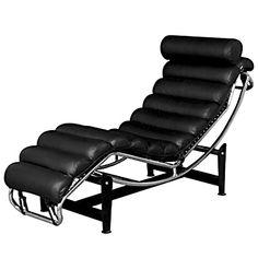 Black leather ergonomic chaise in excellent condition for Chaise longue montreal